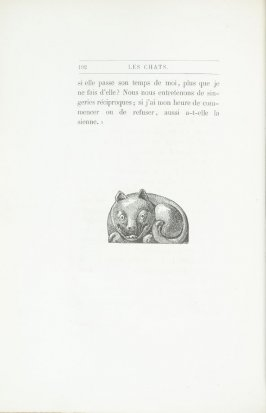 """Chat en porcelaine chinoise du Musée de Sèvres. Dessin de Renard,"" end device pg. 192, in the book Les Chats (Cats) by Champfleury (Paris: J. Rothschild, 1870)."