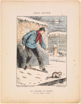 La chasse au dîner (The Hunt for Dinner), plate 2 of the series Paris assiégé, scènes de la vie parisienne pendant le siège (Paris Besieged, Scenes of Parisian Life during the Siege)
