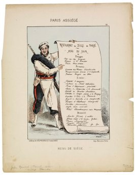 Menu de siège (Menu of the Siege), plate 22 from the series Paris assiégé, scènes de la vie parisienne pendant le siège (Paris Besieged, Scenes of Parisian Life during the Siege)