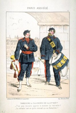 Tambours et clairons de la Gde. Natle. (Drums and Bugles of the Garde Nationale), plate 13 of the series Paris assiégé, scènes de la vie parisienne pendant le siège (Paris Besieged, Scenes of Parisian Life during the Siege)