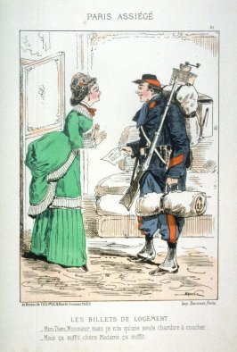Les billets de logement (Lodging for the Troops), plate 21 from the series Paris assiégé, scènes de la vie parisienne pendant le siège (Paris Besieged, Scenes of Parisian Life during the Siege)