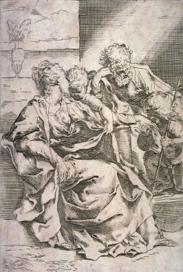 The Holy Family with the Young John the Baptist and a Vase, copy after the etching by Guido Reni