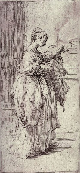 Girl Carrying a Cushion