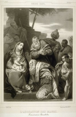 L'Adoration Des Mages (Adoration of the Magi)...fourtieth plate in the book...[Title in Russian and French] Imperatorskaya Ermitazhnaya Galereya … Galérie Impériale de l'Ermitage (Saint Petersburg: Gohier Desfontaines, 1847)