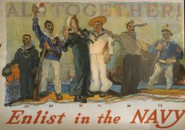All Together! / Enlist in the Navy - World War I poster