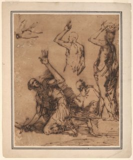 Sheet of Studies with Soldier, Three Figures, and an Arm
