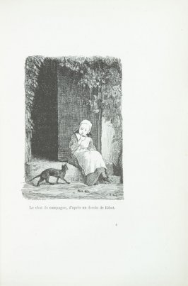 """Le chat de campagne, d'après un dessin de Ribot,"" pg. 81, in the book Les Chats (Cats) by Champfleury (Paris: J. Rothschild, 1870)."
