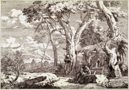 Wilderness Landscape with Two Hermits, pl. 17 from the portfolio Landscapes (Venice: Orsolini, 1730)