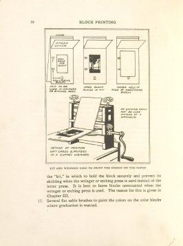 Kit and Wringer Used to Print the Design on the Paper, Illustration 7 in the book Block Printing in the School by William Seltzer Rice