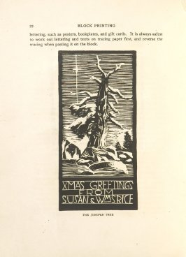 The Juniper Tree, Illustration 10 in the book Block Printing in the School by William Seltzer Rice