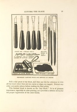 Necessary Carving Tools and Method of Inking, Illustration 12 in the book Block Printing in the School by William Seltzer Rice