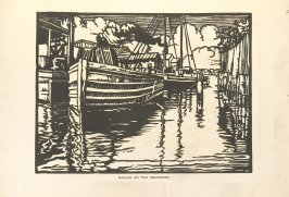 Barges on the Delaware, Illustration 22 in the book Block Printing in the School by William Seltzer Rice