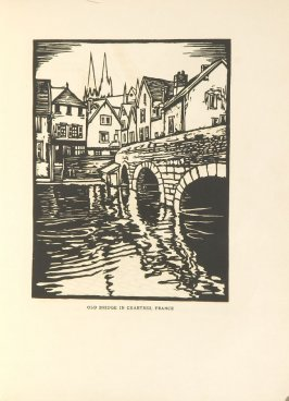 Old Bridge in Chartres, France, Illustration 24 in the book Block Printing in the School by William Seltzer Rice