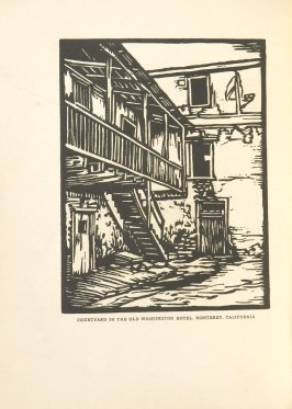 Courtyard in the Old Washington Hotel, Monterey, California, Illustration 25 in the book Block Printing in the School by William Seltzer Rice