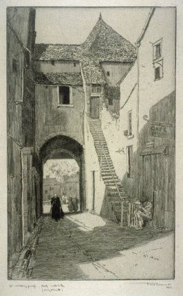 Old house, steep stairs leading up on right, man resting at bottom, women in street in back