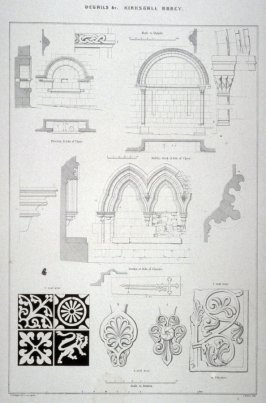 Kirkstall Abbey: Details, second plate opposite page 20, and tenth plate in the book, The Monastic Ruins of Yorkshire by Edward Churton (York: Robert Sunter,[ ca. 1855])