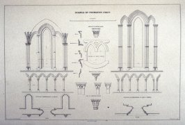 Fountains Abbey: Details, third plate opposite page 40, and twenty-third plate in the book, The Monastic Ruins of Yorkshire (York: Robert Sunter, 1843-[1855])