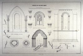 Byland Abbey: Details, third plate opposite page 48, and thirtieth plate in the book, The Monastic Ruins of Yorkshire (York: Robert Sunter, 1843-[1855])