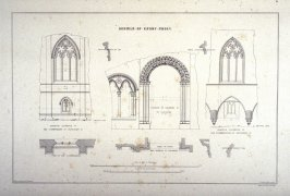 Easby Abbey: Details, third plate opposite page 76, and sixty-fifth plate in the book, The Monastic Ruins of Yorkshire (York: Robert Sunter, 1843-[1855])