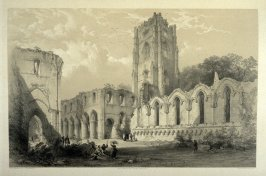 Fountains Abbey: Interior of Choir and Nave, first plate opposite page 40, and twenty-first plate in the book, The Monastic Ruins of Yorkshire (York: Robert Sunter, 1843-[1855])