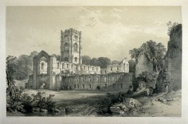 Fountains Abbey: Southwest View, second plate opposite page 40, and twenty-second plate in the book, The Monastic Ruins of Yorkshire (York: Robert Sunter, 1843-[1855])