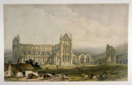Northeast View, Whitby Abbey, first plate opposite p. 16, and fourth plate in the book, The Monastic Ruins of Yorkshire by Edward Churton (York: Robert Sunter,[ ca. 1855])
