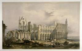 Southwest View, Whitby Abbey, second plate opposite p. 16, and fifth plate in the book, The Monastic Ruins of Yorkshire by Edward Churton (York: Robert Sunter,[ ca. 1855])