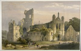 Kirkstall Abbey: Northwest View, first plate opposite page 20, and ninth plate in the book, The Monastic Ruins of Yorkshire by Edward Churton (York: Robert Sunter,[ ca. 1855])