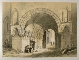 Selby Abbey: North Porch, on page [57], and thirty-seventh plate in the book, The Monastic Ruins of Yorkshire by Edward Churton (York: Robert Sunter,[ ca. 1855])