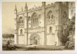 Selby Abbey: West Front, second plate opposite page 58, and thirty-ninth plate in the book, The Monastic Ruins of Yorkshire by Edward Churton (York: Robert Sunter,[ ca. 1855])