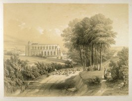 Bridlington Priory : View from the Southeast, on page [61], and forty-fifth plate in the book, The Monastic Ruins of Yorkshire (York: Robert Sunter, 1843-[1855])
