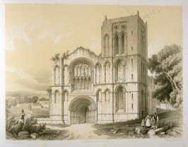 Old Malton Church: West Front, on page [63], and forty-ninth plate in the book, The Monastic Ruins of Yorkshire (York: Robert Sunter, 1843-[1855])