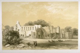 Jervaulx Abbey: Exterior View, first plate opposite page 66, and fifty-first plate in the book, The Monastic Ruins of Yorkshire (York: Robert Sunter, 1843-[1855])