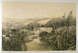 Easby Abbey: Abbey on the Swale, on page [75], and sixty-second plate in the book, The Monastic Ruins of Yorkshire (York: Robert Sunter, 1843-[1855])