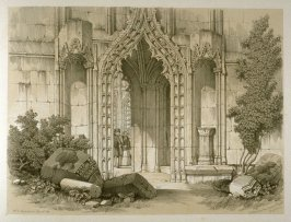 Howden: Entrance to the Chapter House, on page [79], and sixty-eighth plate in the book, The Monastic Ruins of Yorkshire (York: Robert Sunter, 1843-[1855])
