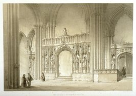 Howden: Screen in the Church, third plate opposite page 81,and seventy-first plate in the book, The Monastic Ruins of Yorkshire (York: Robert Sunter, 1843-[1855])