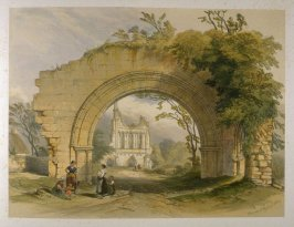 Byland Abbey: Gateway, on page [45], and twenty-seventh plate in the book, The Monastic Ruins of Yorkshire (York: Robert Sunter, 1843-[1855])