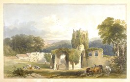 Mt. Grace Priory: Exterior View, first plate opposite page 56, and thirty-fifth plate in the book, The Monastic Ruins of Yorkshire by Edward Churton (York: Robert Sunter,[ ca. 1855])