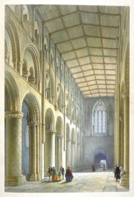 Selby Abbey: Interior of Nave, first plate opposite page 58, and thirty-eighth plate in the book, The Monastic Ruins of Yorkshire by Edward Churton (York: Robert Sunter,[ ca. 1855])