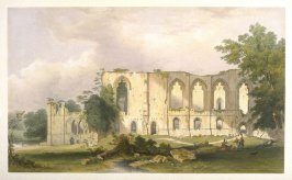 Easby Abbey: Exterior of the Refectory, second plate opposite page 76, and sixty-fourth plate in the book, The Monastic Ruins of Yorkshire (York: Robert Sunter, 1843-[1855])