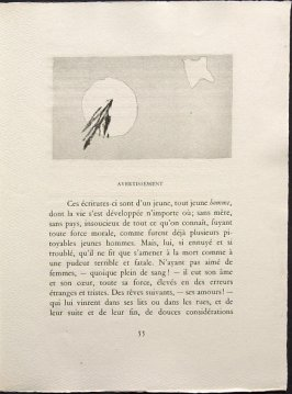 Untitled, pg. 55, in the book Une Saison en Enfer les déserts de l'amour les illuminations by Arthur Rimbaud (Lausanne: André et Pierre Gonin, 1951)