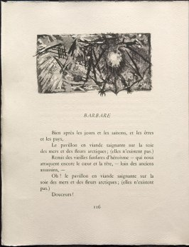 Untitled, pg. 116, in the book Une Saison en Enfer les déserts de l'amour les illuminations by Arthur Rimbaud (Lausanne: André et Pierre Gonin, 1951)
