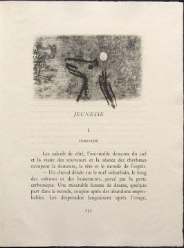 Untitled, pg. 131, in the book Une Saison en Enfer les déserts de l'amour les illuminations by Arthur Rimbaud (Lausanne: André et Pierre Gonin, 1951)