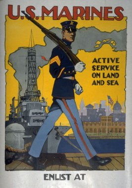 U.S. Marines Active Service on Land and Sea - World War I poster