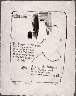 Berdie, 1959, pl. 5, in the portfolio Stones by Frank O'Hara  (West Islip, N.Y.: U.L.A.E., 1960)