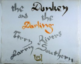 Title page, in the book The Donkey and The Darling by Terry Southern (West Islip, NY: ULAE, 1977)