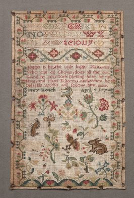 "Sampler: inscribed, ""Happy is he..."""