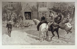 The hunting season-A meet at the old Hall-pages 244 & 245 from The Graphic, 27 Feb. 1886.