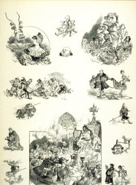 A page of Cartoons dealing with Excess in its various forms, from Le Chat Noir