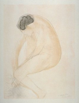 [Seated nude] from the portfolio Les Cartons d'estampes gravées sur bois, oeuvrage corporative (Portfolio of wood engravings after works of various French artists)